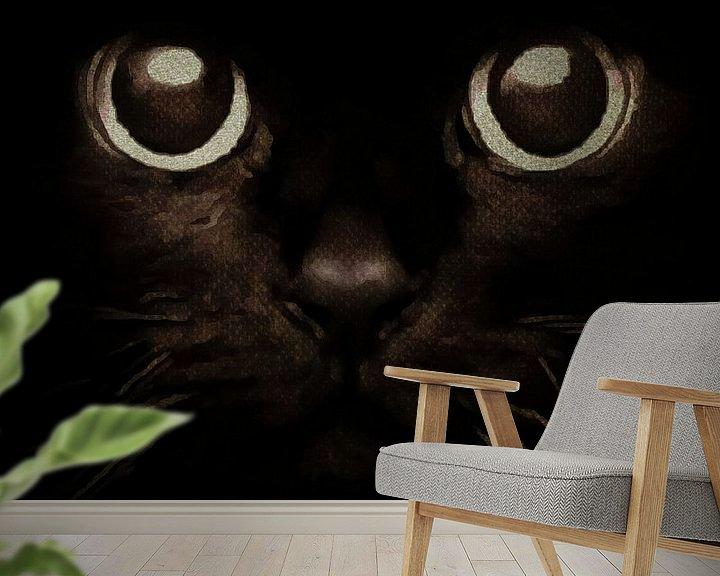 Sfeerimpressie behang: Ogen van een kitten van Jan Keteleer