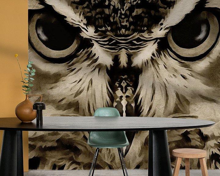 Sfeerimpressie behang: Portret van een uil van Jan Keteleer