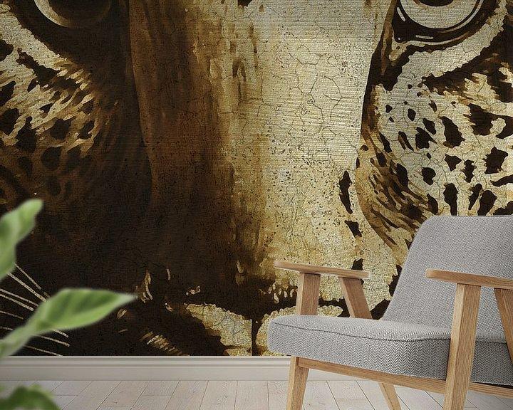 Sfeerimpressie behang: Portret van een jachtluipaard van Jan Keteleer