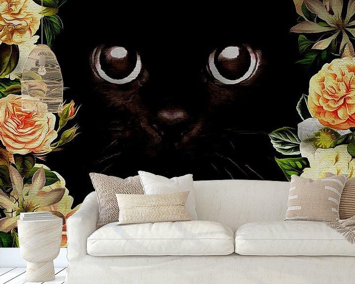 Sfeerimpressie behang: Flower Power Kitten van Jan Keteleer