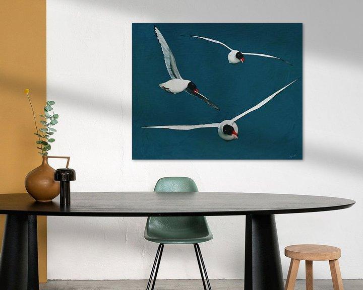 Impression: Goélands argentés volants aux ailes ouvertes sur Jan Keteleer