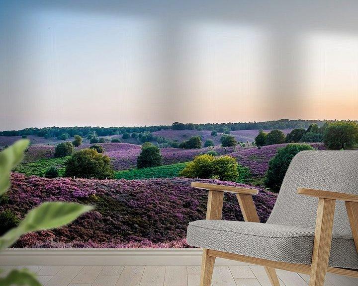 Sfeerimpressie behang: Heide op Veluwe in volle bloei van Marcel Krijgsman
