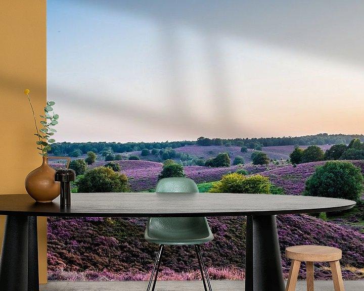 Sfeerimpressie behang: Heide op Veluwezoom in volle bloei van Marcel Krijgsman