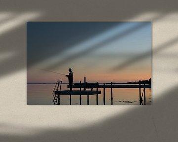 Visser bij zonsondergang van René Wolters