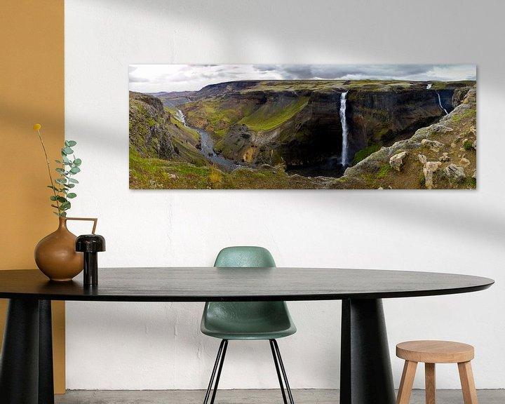 Impression: Panorama Háifoss cascade 1 en Islande sur Anton de Zeeuw