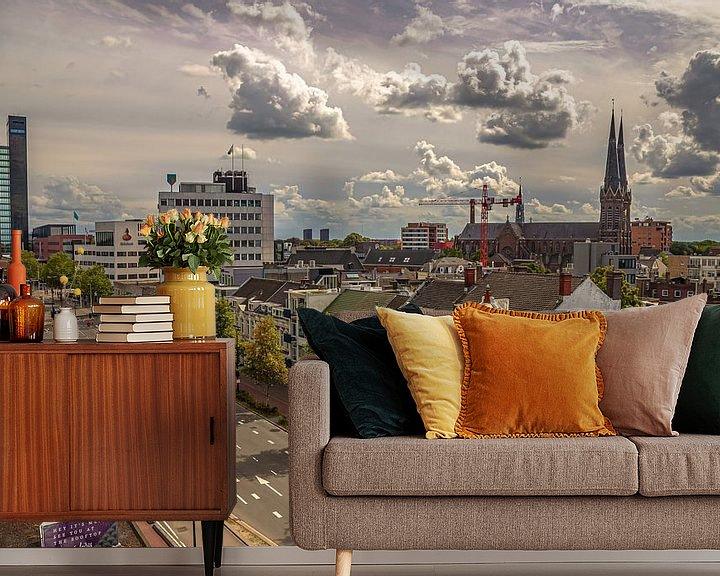 Sfeerimpressie behang: Skyline Tilburg  vanaf de Spoorlaan van Freddie de Roeck