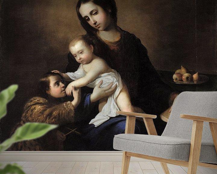 Beispiel fototapete: Die Jungfrau und das Kind mit dem Kind Johannes der Täufer, Francisco de Zurbarán