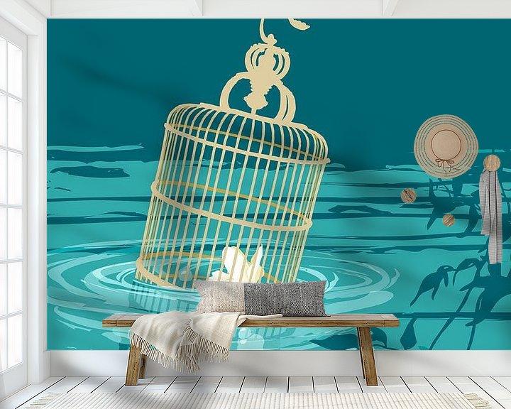 Sfeerimpressie behang: Mimpi indah jepun [slaap zacht frangipani] van Ingrid Joustra