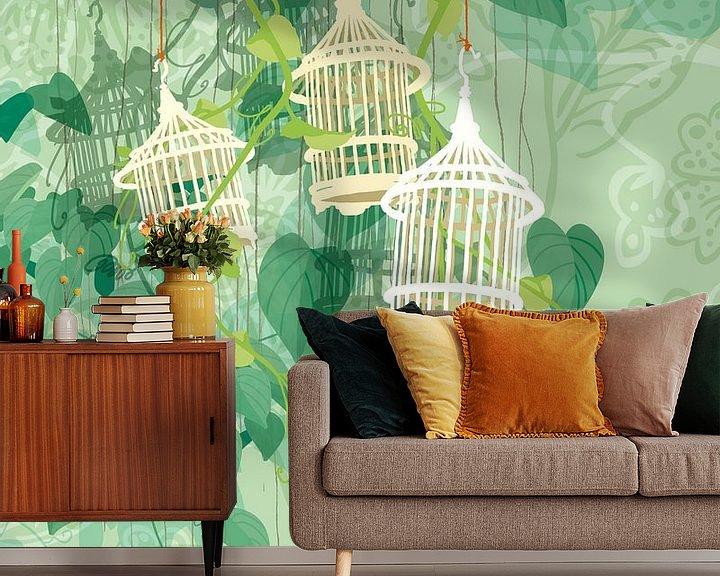 Sfeerimpressie behang: Drie-eenheid in groen van Ingrid Joustra