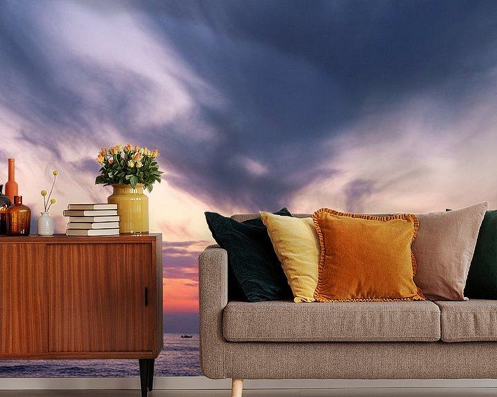 Sfeerimpressie behang: Zonsondergang in Griekenland van Miranda van Hulst
