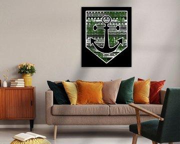 Wapenschild in Noord-Duitse stijl met anker- en Maori-patroon van PA Designs