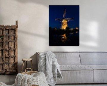 Blauwe uurtje Kinderdijk in the spotlights van Mark den Boer