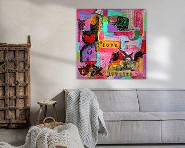 """Collage-Kunstwerk """"Ich liebe mein chaotisches Leben"""". von Ina Wuite"""