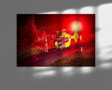 Traumahelikopter maakt zich gereed voor take-off