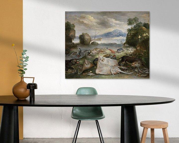 Beispiel: Meerestiere, Fische und Otter am Strand, Jan van Kessel