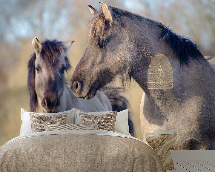 Sfeerimpressie behang: Twee paarden in de Palmerswaard van Mark Bolijn