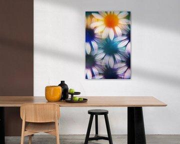 Sonnenhutblüten, fotografiert von einem Prisma. von Kaat Zoetekouw
