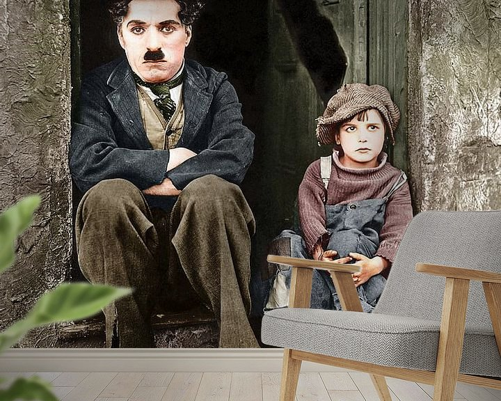 Sfeerimpressie behang: Charlie Chaplin & The Kid (1921) van Colourful History