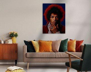 Jimi Hendrix Schilderij 5 van Paul Meijering