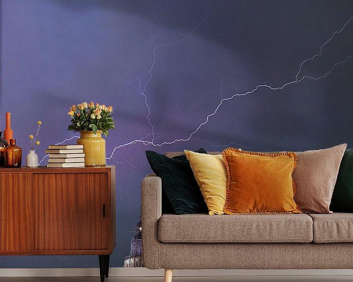 Sfeerimpressie behang: Storm boven Zutphen van Arnold van Rooij