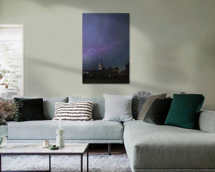 Sfeerimpressie: Storm boven Zutphen van Arnold van Rooij
