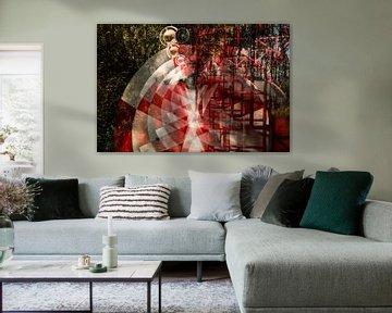 Abstract beeld van rood wit gekleurde tank - container van Marianne van der Zee