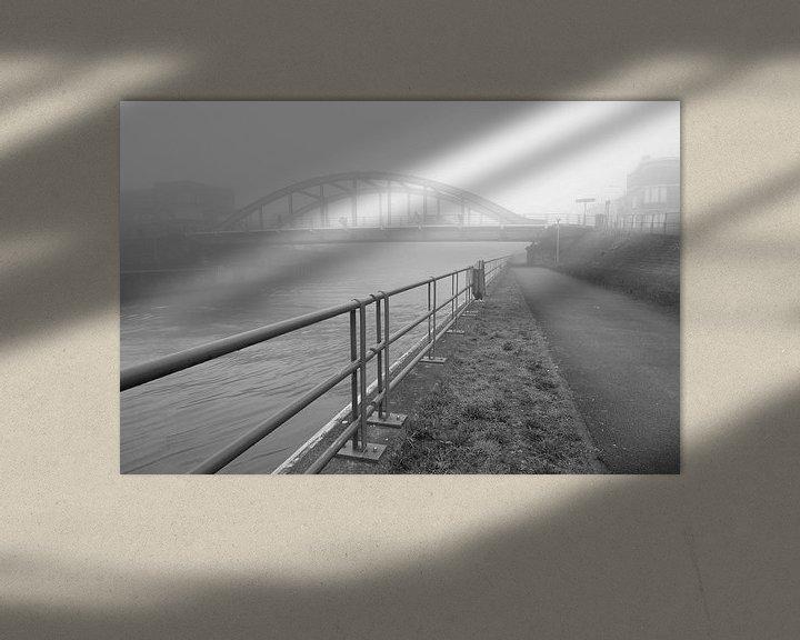 Impression: un matin brumeux au pont sur la Lys jusqu'à la caserne de Menin, en Belgique sur Fotografie Krist / Top Foto Vlaanderen