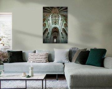Nahaufnahme der Architektur der Kathedrale am Mont Saint Michel in Frankreich von Wout Kok