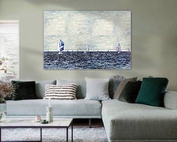Navigation sur l'Escaut oriental (Zélande, Pays-Bas) (œuvre d'art) sur Art by Jeronimo