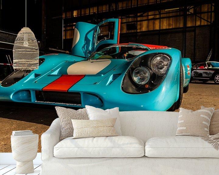 Sfeerimpressie behang: Raceauto Porsche van Brian Morgan