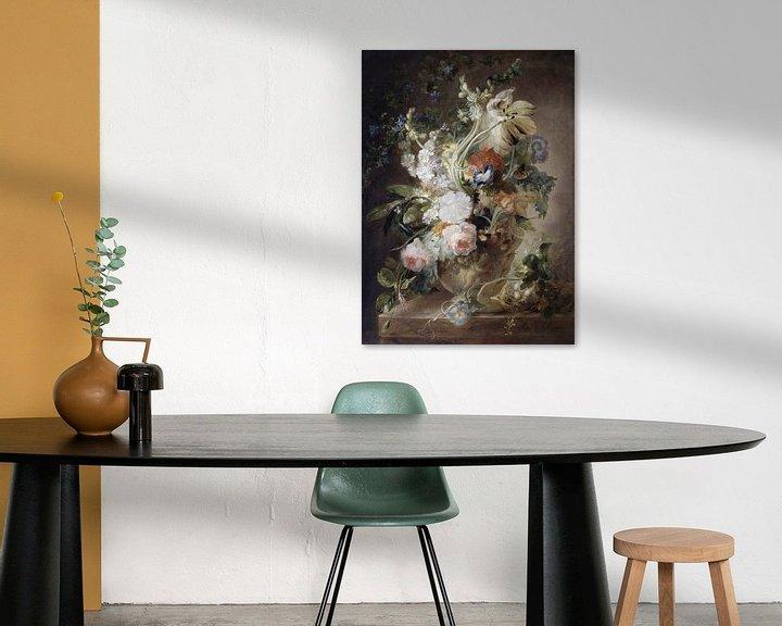 Impression: Vase avec des fleurs, suivi de Jan van Huysum