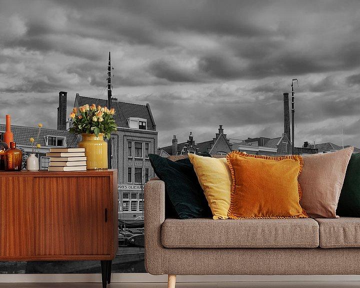 Sfeerimpressie behang: Delfshaven, Rotterdam, The netherlands, Z/W van Maarten Kost