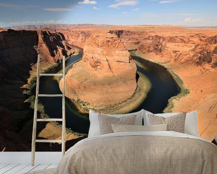 Sfeerimpressie behang: Horseshoe Bend met de Colorado rivier in Arizona USA van Paul Franke