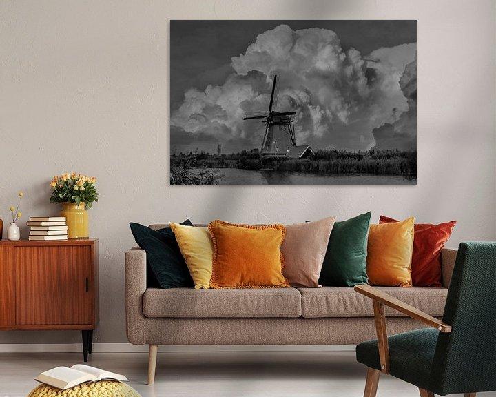 Sfeerimpressie: B/W Kinderdijk Mills, Kinderdijk, The Netherlands van Maarten Kost