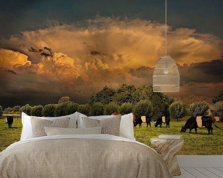 Beispiel fototapete: Wolken, Landschaft, Doornenburg, Niederlande von Maarten Kost
