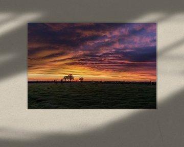 Breda, Haagse Beemden, Wolkiger Sonnenuntergang von Andre Gerbens