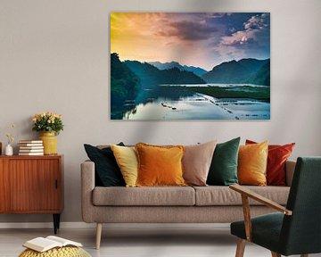 zonsondergang boven de jungle van Bart Nikkels