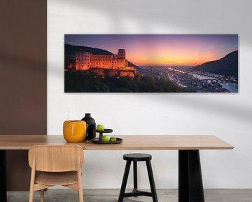 Heidelberger Schloss Panorama Sonnenuntergang von Vincent Fennis