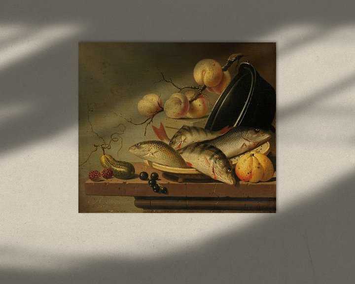 Beispiel: Stillleben mit Fisch und Obst, Harmen Steenwijck