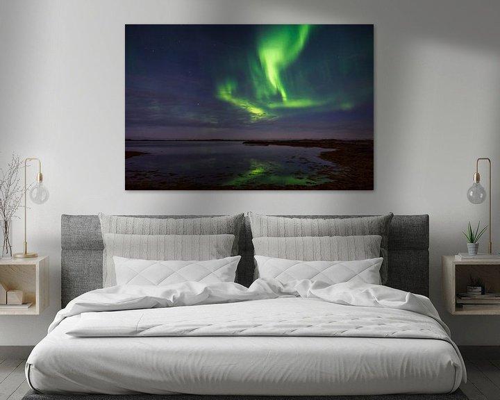 Sfeerimpressie: Noorderlicht vanaf de Lofoten eilanden, Noorwegen van Jasper den Boer