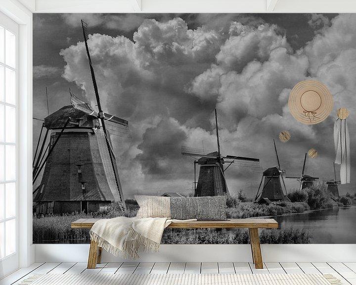 Sfeerimpressie behang: Theme B/W, Mills, Kinderdijk, The Netherlands van Maarten Kost