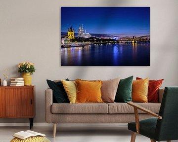 De Dom van Keulen, de Grote Sint-Maartenskerk, de Muziekkoepel en de Hohenzollernbrug met uitzicht o van 77pixels