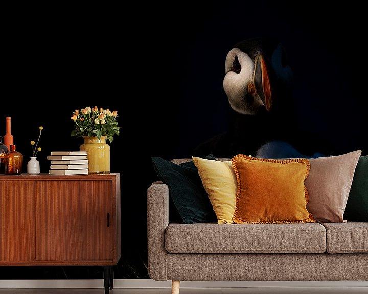 Sfeerimpressie behang: Puffin at sunset van Claudia van Zanten