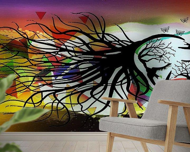 Beispiel fototapete: Femme Fatale, Frau bestehend aus Vögeln und Zweigen. von MirEll digital art