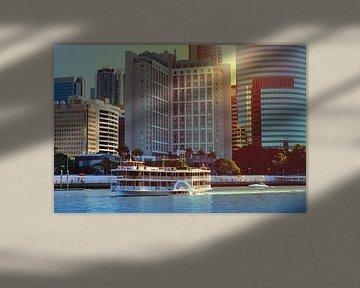 Stoomboot op de rivier in Brisbane, Australië van Ines Porada