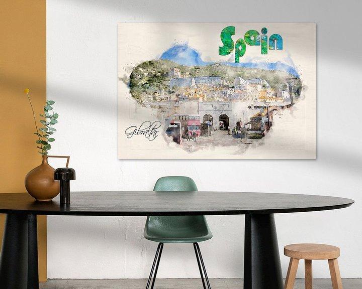 Sfeerimpressie: gestileerde affiche in aquarelstijl. van Ariadna de Raadt