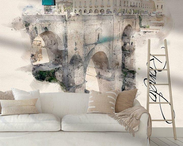 Beispiel fototapete: Stilisiertes Poster im Aquarell-Stil. von Ariadna de Raadt-Goldberg