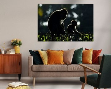 Moeder met baby (aap) van Wijnand Loven