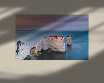 Sonnenuntergang bei Old Harry Rocks, Dorset, England