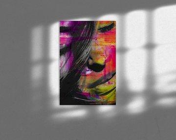Visage d'une femme en couleur sur Art By Dominic